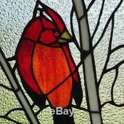 Stained Glass Window Panel Red Bird Cardinal Songbird Tiffany Style 12 x 30