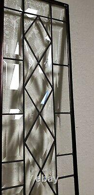 Stained Glass Window Panel-Sidelight/Transom 34 5/8 x 7 5/8 All Clear