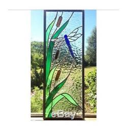 Stained Glass Window Panel, Stained Glass Dragonfly Bullrush, Custom Made