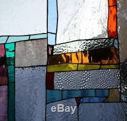 Stained Glass Window Panel Suncatcher / Abstract with orange