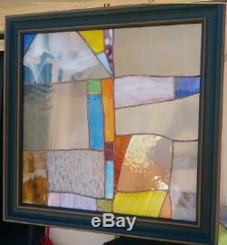 Stained Glass Window Panel Suncatcher / Abstract with red