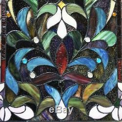 Stained Glass Window Panel Suncatcher Handcrafted with 289 Pieces of Glass