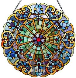Stained Glass Window Panel Suncatcher Hanger Tiffany Style Heart 22 Victorian