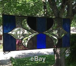 Stained Glass Window Panel Suncatcher withBevels 9x 20 Victorian Style