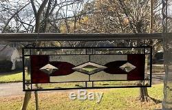 Stained Glass Window Panel Suncatcher withBevels -Burgandy approx size 19 x 6