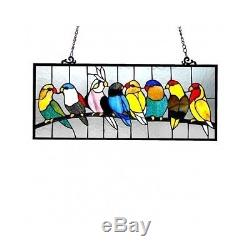 Stained Glass Window Panel Tiffany Style Birds Kitchen Hanging Art Treatment New