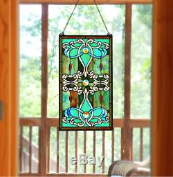 Stained Gl Window Panel Tiffany Style Hanging Wall Home Art Decor 15 X 26