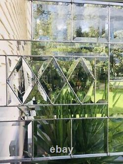 Stained Glass Window Panel Transom Diamonds Totally Beveled 16 1/2 X 20 1/2
