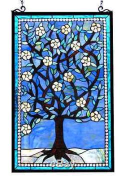 Stained Glass Window Panel Tree of Life Design Window Panel Hanging 32 x 20