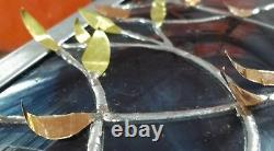 Stained Glass Window Panel Two Intertwined Trees anniversary wedding gold peach
