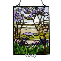 Stained Glass Window Panel Valley Lake & Mountains Stained Glass Tiffany Style