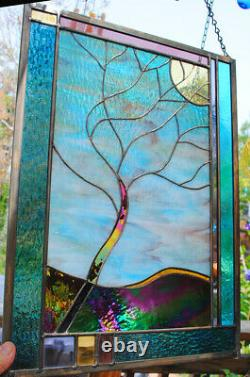 Stained Glass Window Panel Windy Tree turquoise purple gold