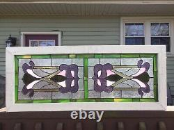 Stained Glass Window Panel, Wooden Frame, Leaded Glass Art Nouveau Style EUC