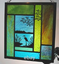 Stained Glass Window Panel heron lake cattails tree turquoise blue