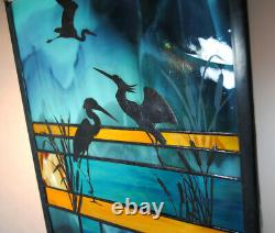 Stained Glass Window Panel heron lake landscape turquoise gold blue cattails