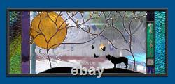 Stained Glass Window Panel memorial pet ashes personalized dog cat