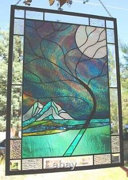 Stained Glass Window Panel mountain tree northern lights bevel