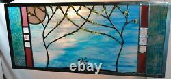 Stained Glass Window Panel turquoise white bevel wedding trees anniversary