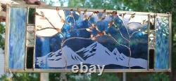 Stained Glass Window Panel two trees beveled blue mountain