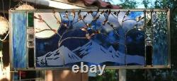 Stained Glass Window Panel wedding personalized trees Beveled blue anniversary
