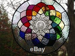 Stained Glass panel with old dish-colorful
