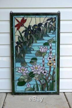 Stained glass window panel Waterlily Lotus dragonfly Flower Pond, 34.5 x 20.5