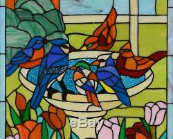 Stained glass window panel bird bath birds with Flowers, 20.5 x 34.75