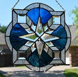 Star Burst Beveled Stained Glass Window Panel