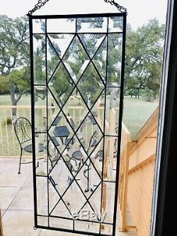 Stunning Handcrafted Stained Glass Clear Beveled Window Panel, 24 X 9.5 E C
