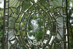 Stunning Handcrafted stained glass Clear Beveled window panel, 20.5 x 34.5