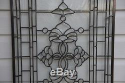 Stunning Tiffany Style stained glass Clear Beveled window panel, 20.5 x 34.5