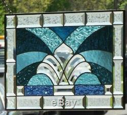 Sunshine Beveled Stained Glass Window Panel 22 1/4 x 14 1/4
