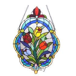 TIFFANY TULIPS BOUQUET 15x22 FLORAL ROSES OVAL STAINED GLASS WINDOW PANEL