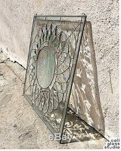 The Beveled Sun Abstract Tiffany Style Stained Glass Window Panel Handcrafted