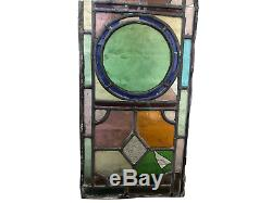 Three Antique Leaded Light Stained Glass Panels Fanlights