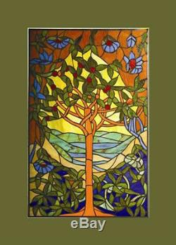 Tiffany Stained Glass Glass Window Panel Tree of Hope 20x32 LAST ONE THIS PRICE