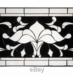 Tiffany Stained Glass Hanging Window Panel Room Divide 36 Beveled Glass Black