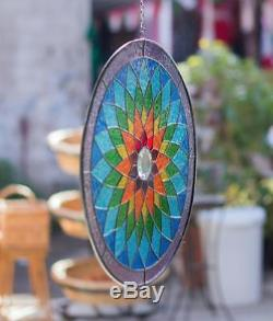 Tiffany Stained Glass Round Window Panel Yoga Mandala Spiritual Ritual 15 INCH
