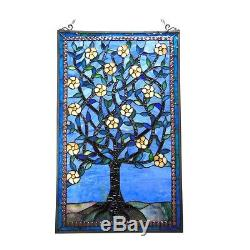 Tiffany Stained Glass Tree Of Life Window Panel 20X32 Crafted Art Decor New