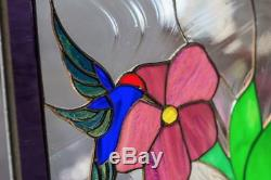 Tiffany Stained Glass Window 3 Hummingbirds Flower Garden Window Panel Stain Art