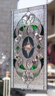 Tiffany Stained Glass Window Elegant Victorian Beveled Suncatcher Window Panel 2