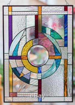 Tiffany Stained Glass Window Fank Lloyd Wright Abstract Window Panel Suncatcher