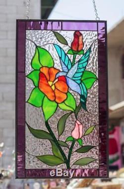 Tiffany Stained Glass Window Hummingbird Flowers Floral Suncatcher Window Panel