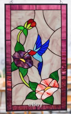 Tiffany Stained Glass Window Hummingbird Poppy Field Flowers Window Panel