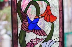 Tiffany Stained Glass Window Hummingbird in Flower Field Window Panel Hammered