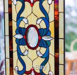 Tiffany Stained Glass Window Victorian Beveled Window Panel Hanging Suncatcher