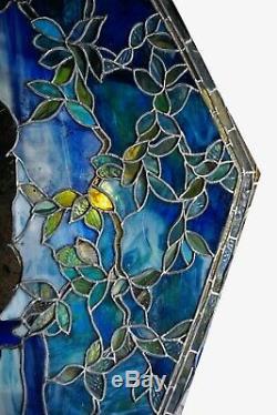 Tiffany Studios Stained Glass Landscape Window Panel Drapery Glass