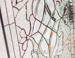 Tiffany Styl Clear Beveled Stained Glass Window Panel Victorian Iridescent36x17