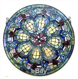 Tiffany Style 24 Diameter Round Victorian Design Stained Glass Window Panel