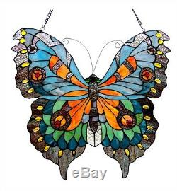 Tiffany Style Butterfly Design Stained Glass Window Panel 21 Tall x 20 Wide